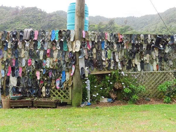 Footwear fence in Mokau