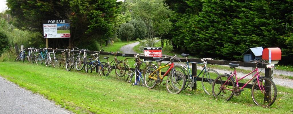 Bike fence in Egmont Village (Taranaki)