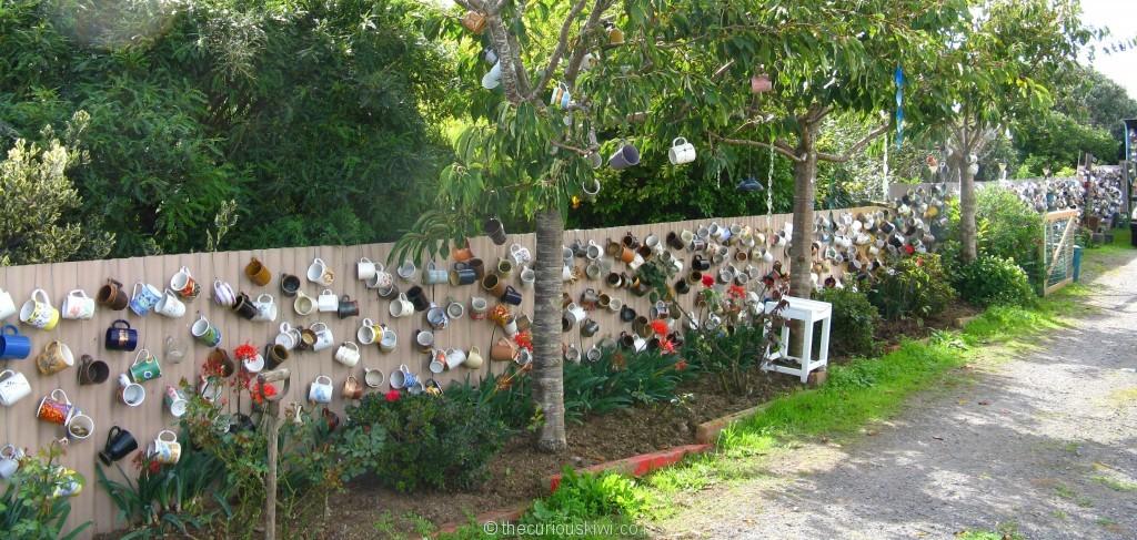 Coffee cup fence in Rahotu (Taranaki)