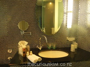 Ensuite with bee hive mosaic tiles