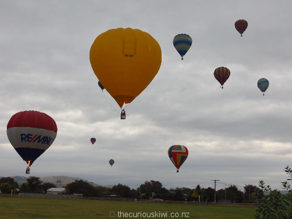 View of hot air balloons from Martinborough Top 10 Holiday Park