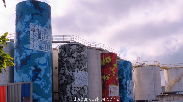 Silos in Wynyard Quarter - painted by Askew One, poems by CK Stead