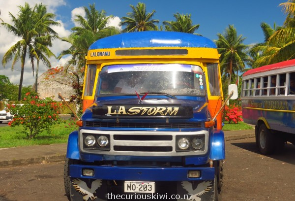 Catching the bus to Lalomanu will save you tala