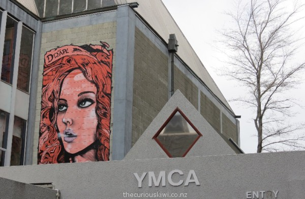 Street art by Drapl on the YMCA building