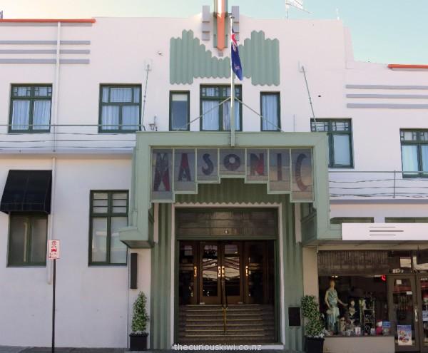 Art deco entrance of Masonic Hotel