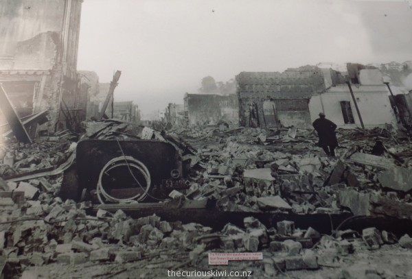 One of the photos on a wall in the city - looking down Upper Emerson Street after the earthquake