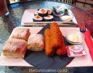 Salmon croquettes & salmon sushi for lunch