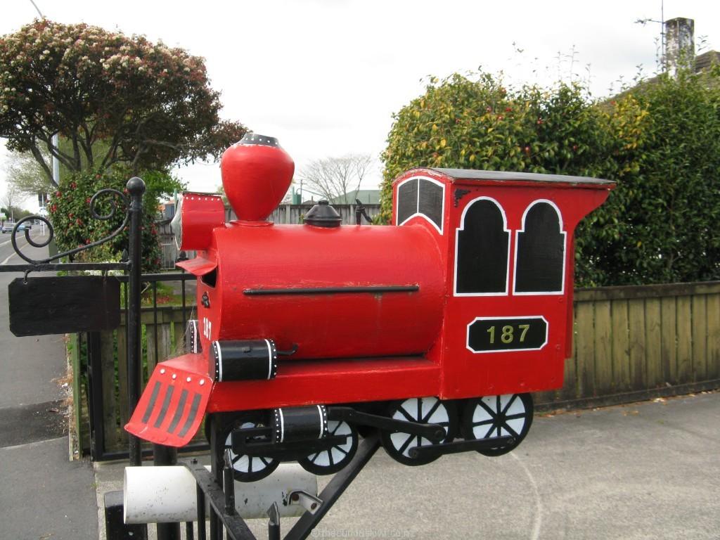 Runaway train letter box in Hamilton