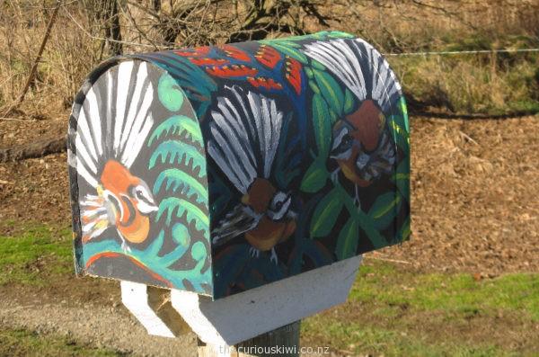 Fantail themed letter box in Hanmer Springs