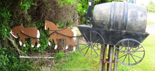 Horse and cart letter box in Westport