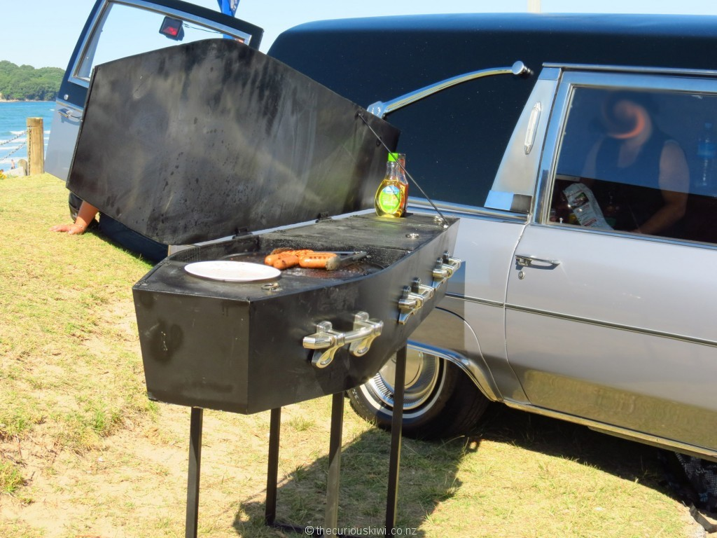 Hearse and coffin BBQ - RIP sausages
