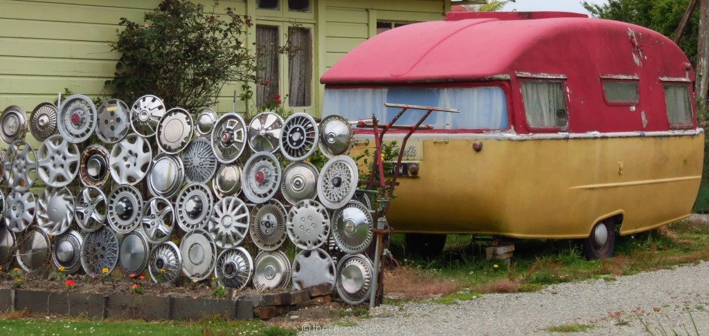 Hubcap fence in Hokitika