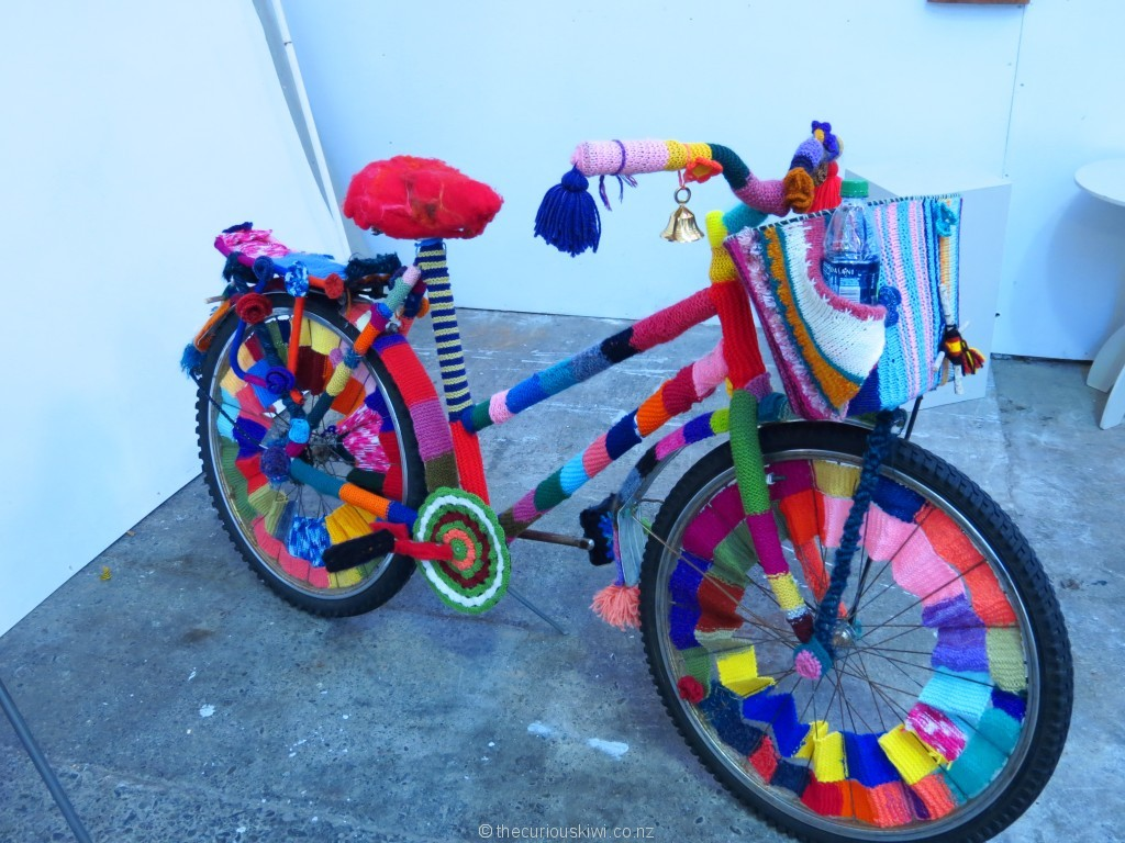 Yarn bombed bike in Tauranga
