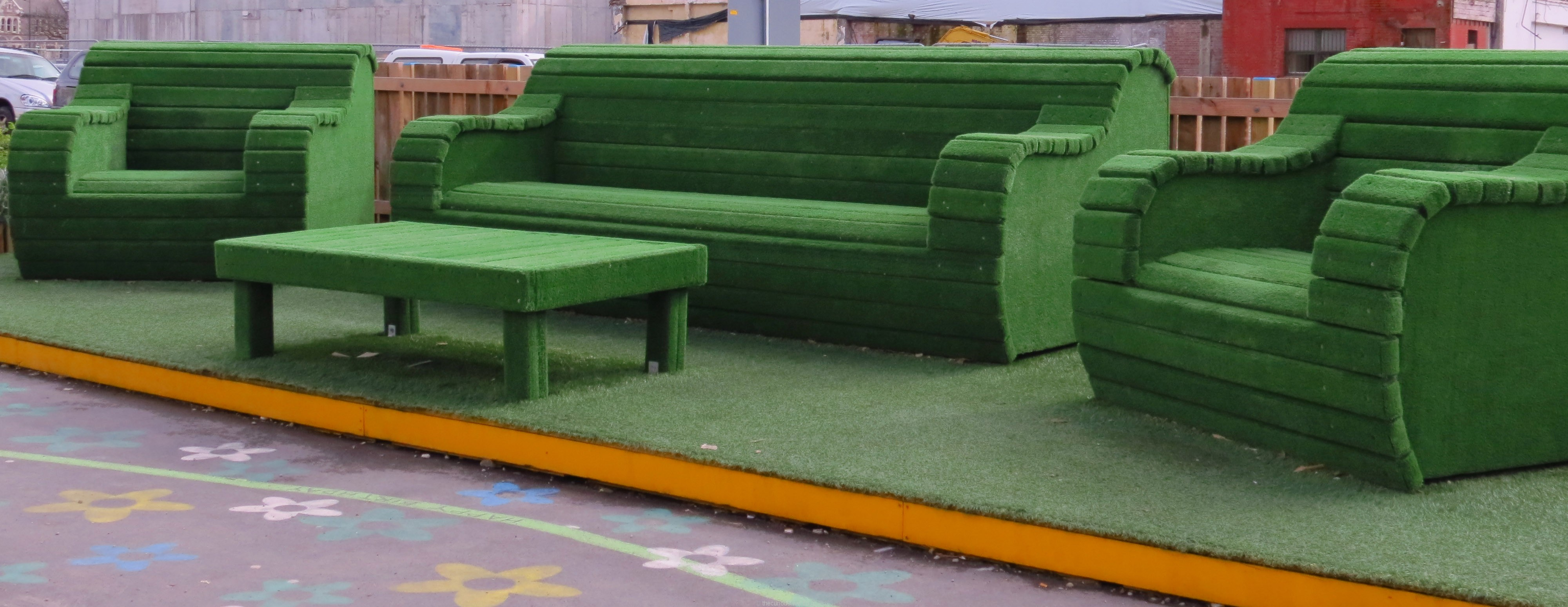 The big green couch and chairs