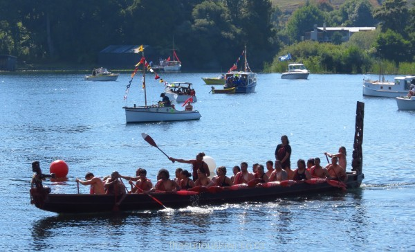 The first ever boats on Lake Rotoiti - the Maori waka, lead the way