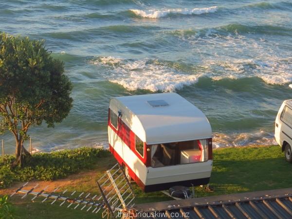 Our caravan Rosie beachfront at Maketu Holiday Park