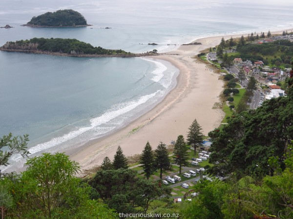 View of Mount Maunganui Beachside Holiday Park from the summit of Mount Maunganui