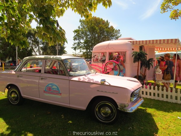Betty and her Vauxhall Cresta tow car crossed the ditch for the Retro Caravan Show