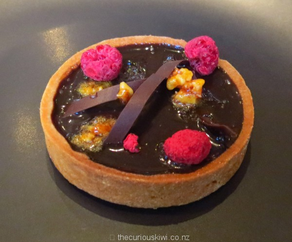 Milse raspberry, chocolate and honey comb tart