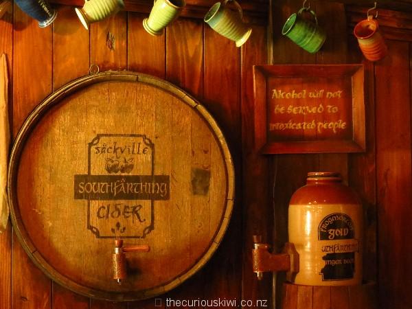 Barrel of Sackville Cider and flagon of Frogmorton Ginger Beer