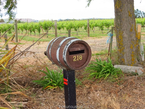 Wine barrel letter box in Waipara