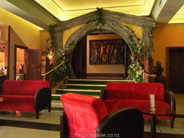 Art deco furniture in the Foyer Cafe and a 'hobbit house' style doorway