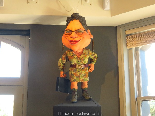Metiria Turei watches over the dining room in camouflage gear
