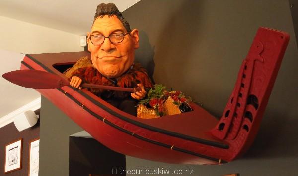 Hone Harawira paddling his own waka at Backbencher Gastropub