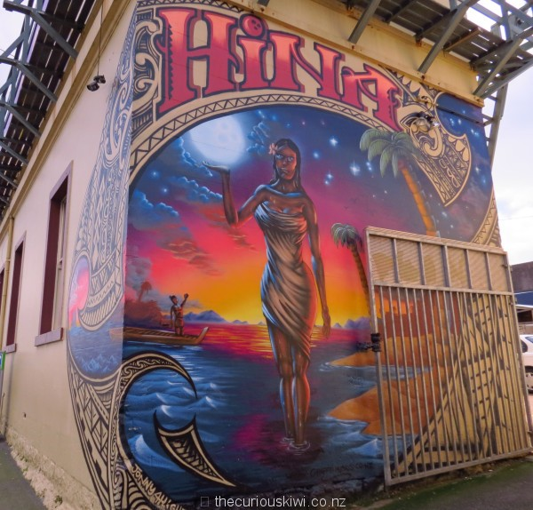 'Hina' by Jonny 4Higher, on the back of West Terrace Lodge, cnr K Road & West Terrace - All Fresco 2013
