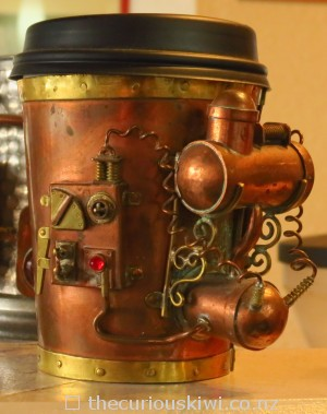 Steampunk coffee cup holder by Iain Clark
