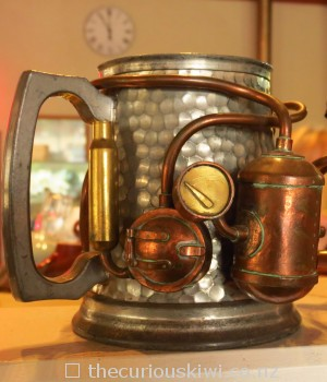 Steampunk beer tankard made by Iain Clark