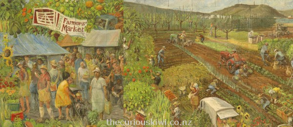 Gisborne Farmers' Market mural by the late Mr Graeme Mudge