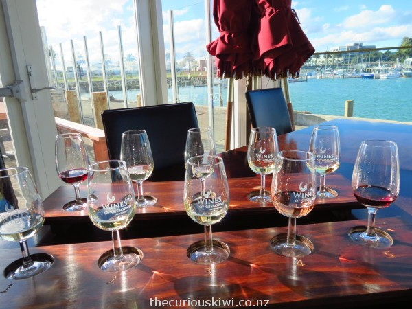 Wine tasting at Gisborne Wine Centre - that's Gisborne's version of Auckland's Viaduct in the background