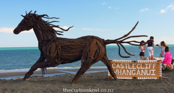 Driftwood horse by Jack Marsden-Mayer on Castlecliff Beach