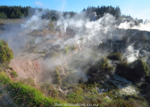 Large steamy crater coloured by pink soil