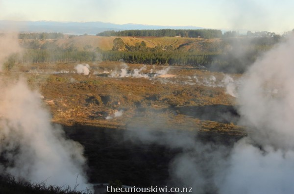 Looking down over the valley of steaming craters from the lookout