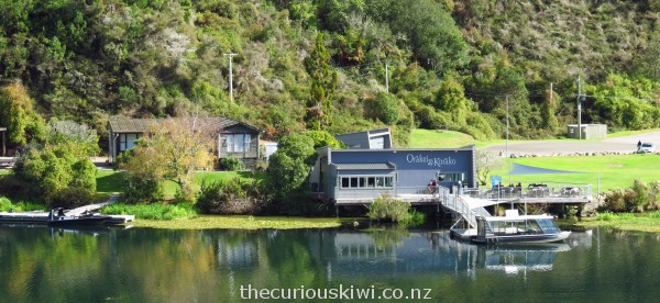 Orakei Korako - photo taken from geothermal area looking back at the Visitor Centre / MudCake Cafe