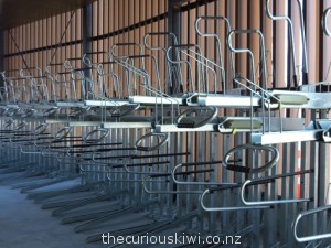 Under cover and stackable bike racks at Christchurch Bus Interchange