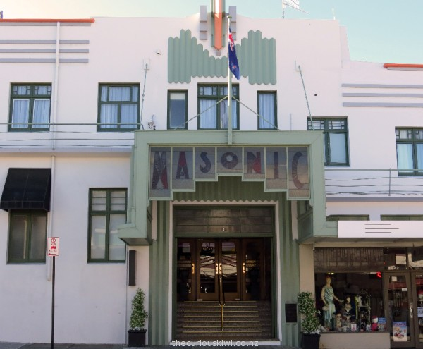 Art deco entrance of Masonic Hotel