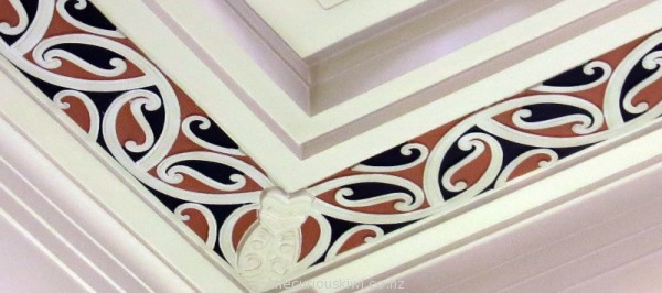 Kowhaiwhai patterns on the interior of ASB in Napier