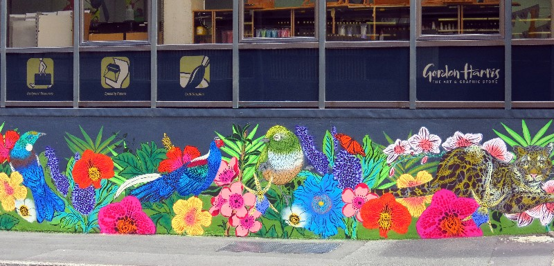 Art work by Flox on the exterior of Gordon Harris in Newmarket