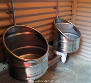Beer keg urinals at Tui Brewery