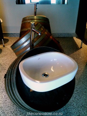 Wine barrel basins at Fork & Brewer