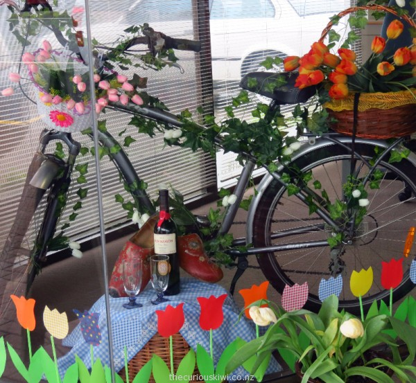 Window display at Galaxy Travel for Tulip Fest