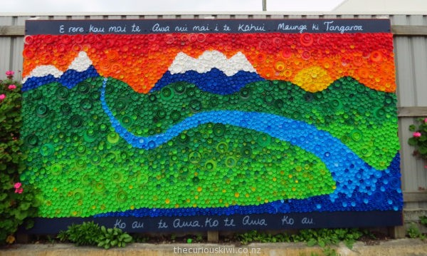 Brilliant mural made from plastic lids at Whanganui Resource Recovery Centre
