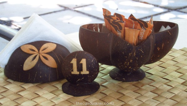 Coconut table accessories at Pacific Jewell Garden Cafe