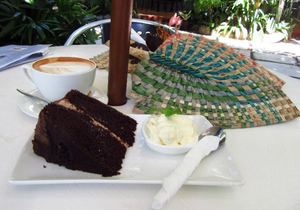 Coffee and chocolate cake at Pacific Jewell Garden Cafe