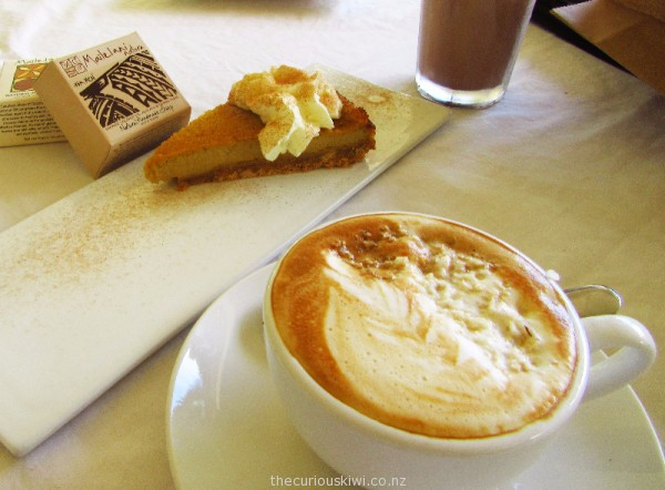 Coconut cream latte, pumpkin pie and iced Koko Samoa at Le Petit Cafe, Apia