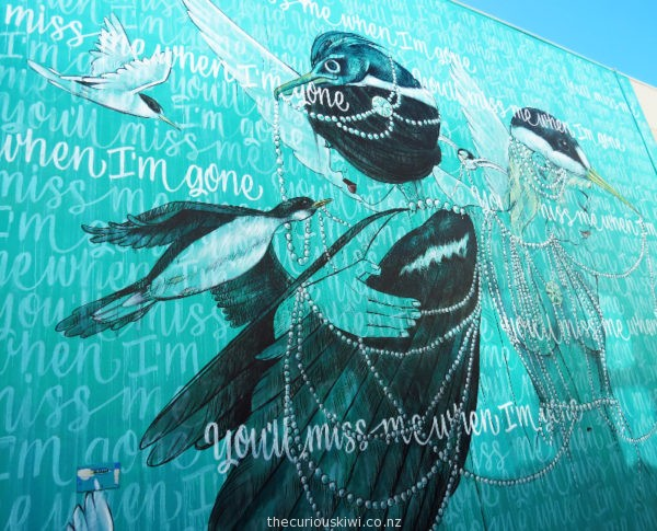 'You'll Miss Me When I'm Gone' painted to raise awareness about two endangered sea birds - fairy turn & Chatham Islands taiko. By Dirty Bandits & Amanda Lynn