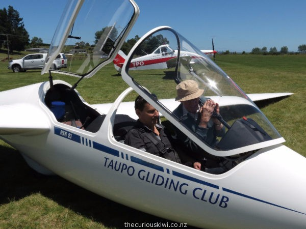 Seat belt on and under instruction at Taupo Gliding Club